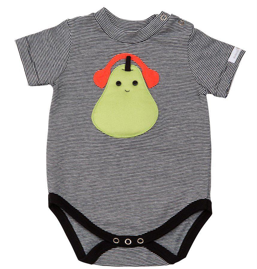Body bebê unissex  pera com fone manga curta malha listrada preta e branca