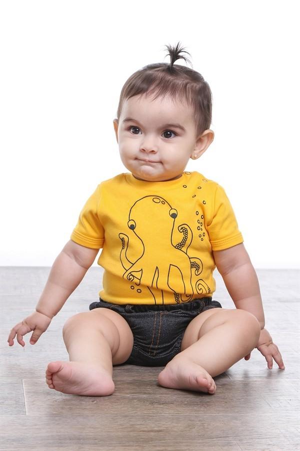 Body bebê unissex polvo manga curta suedine amarelo