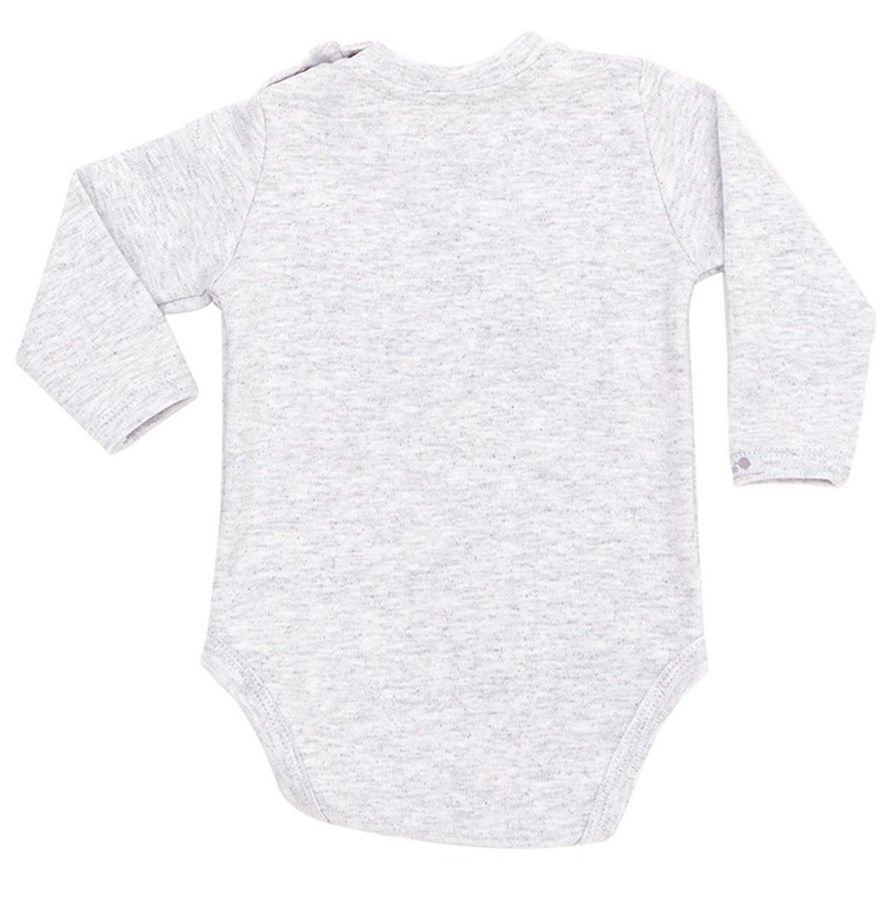 Body bebê unissex salsicha manga longa suedine cinza mescla