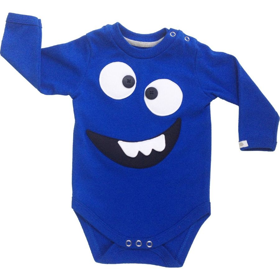 Body bebê unissex sorrisão manga longa suedine azul