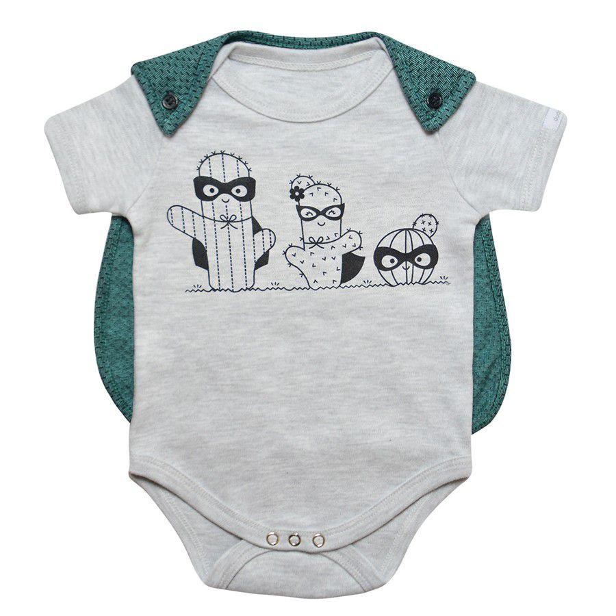 Body bebê unissex super cactos manga curta suedine cinza mescla
