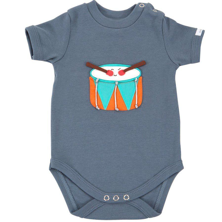 Body bebê unissex tambor manga curta suedine cinza