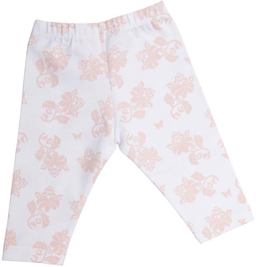 Calça bebê menina legging com estampa floral cotton salmão