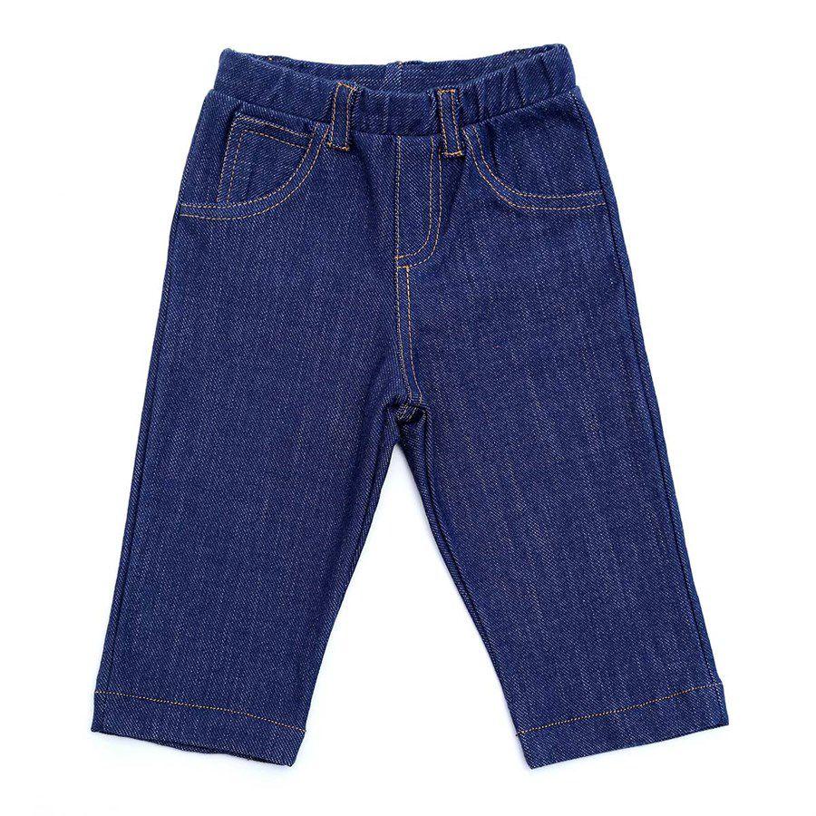 Calça bebê unissex reta com bolsinhos moleton jeans
