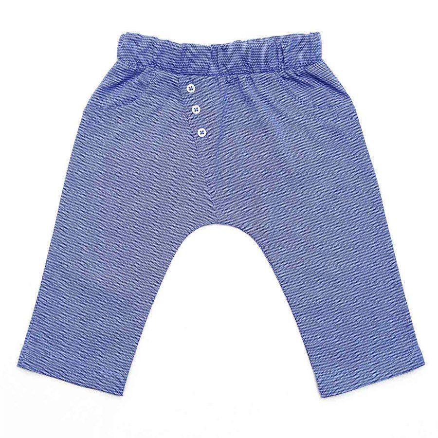 Calça bebê unissex saruel com botõezinhos tecido plano azul