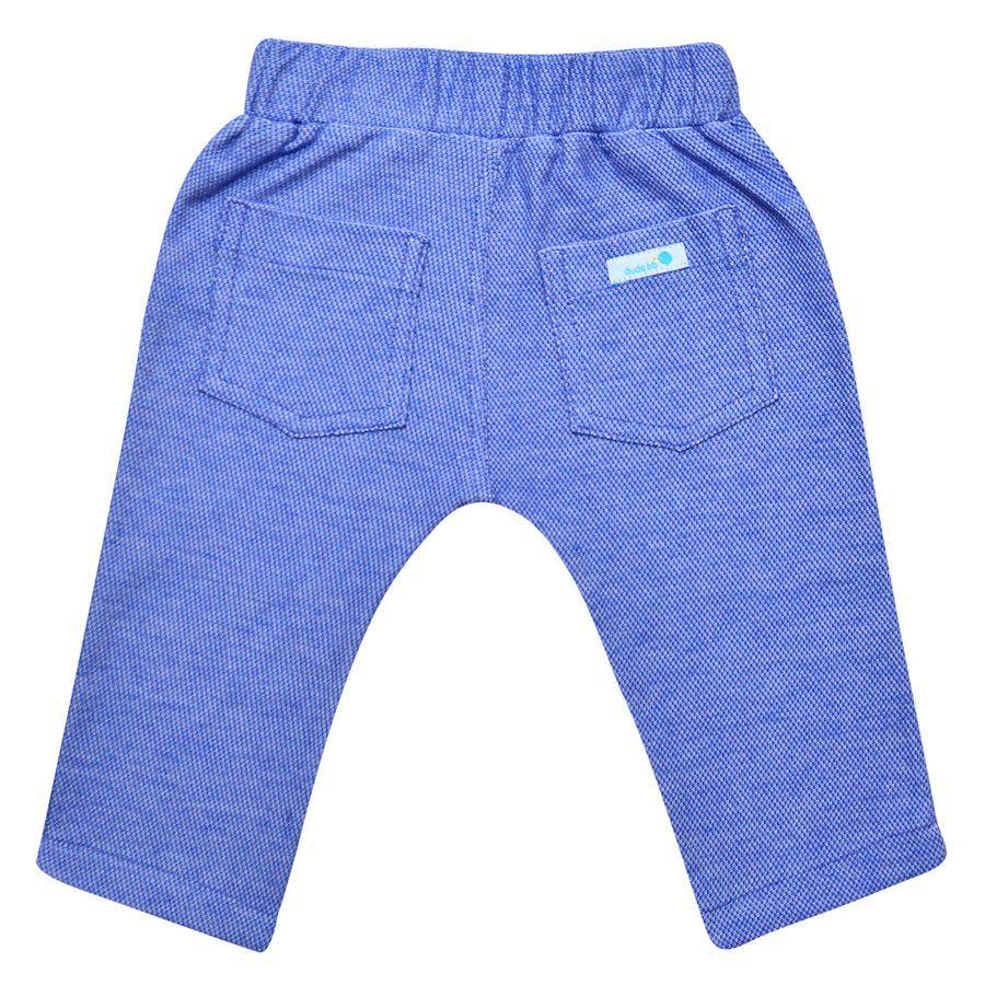 Calça bebê unissex saruel com recorte malha azul jeans médio