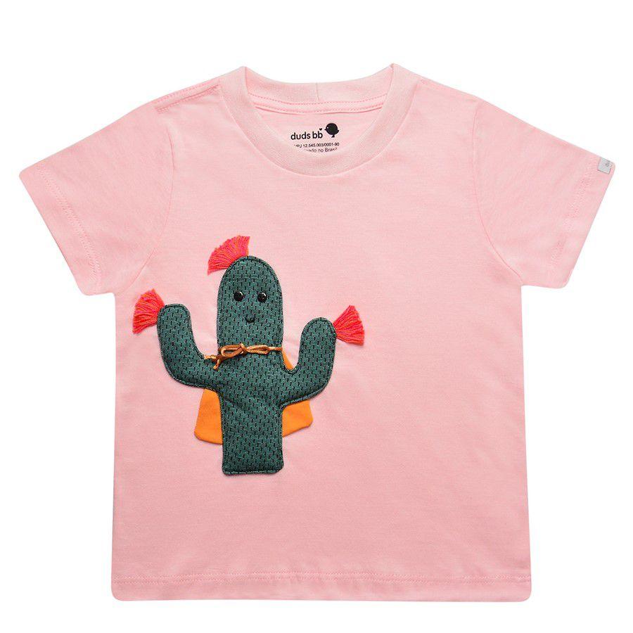 Camiseta cacto Vitória manga curta rosa