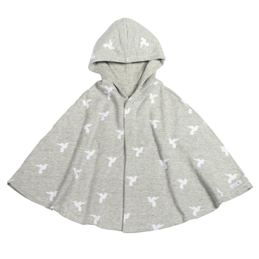 Capa para bebê estilo poncho com capuz estampa beija-flor