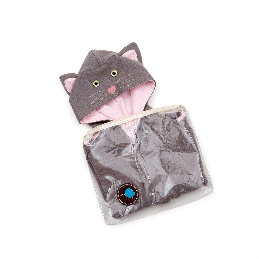 Capa para bebê estilo poncho com capuz gato