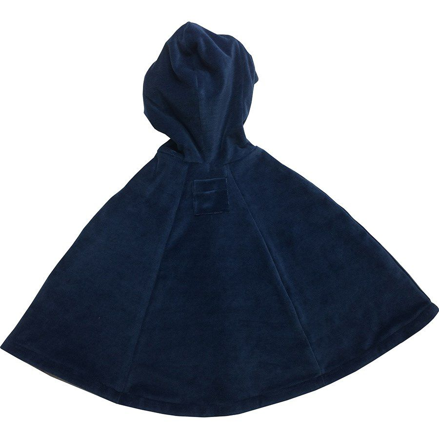 Capa para bebê estilo poncho com capuz passarinho azul