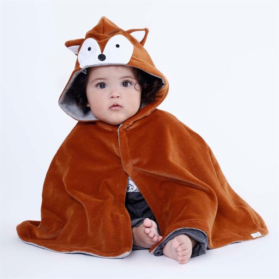 Capa para bebê estilo poncho com capuz raposa