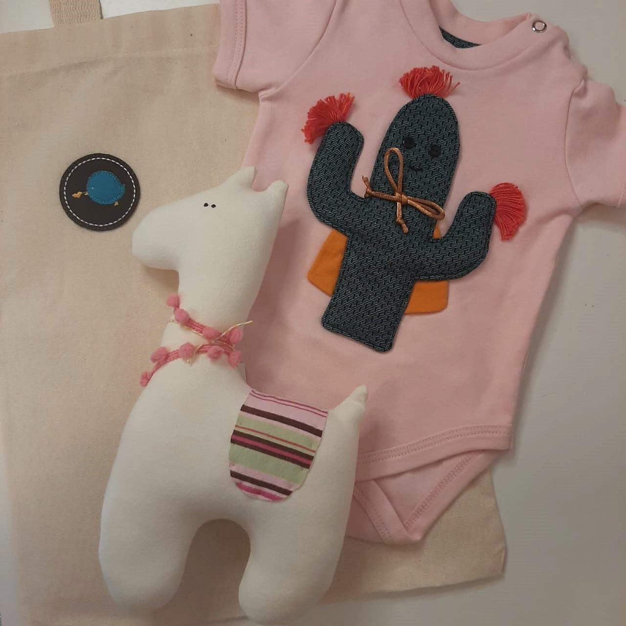 Kit para bebê body cacto e lhama fofinha