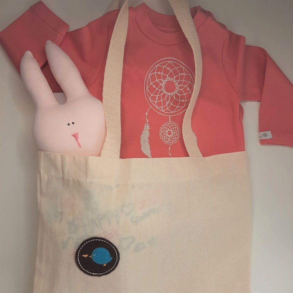 Kit para bebê body filtro dos sonhos e chocalho paz