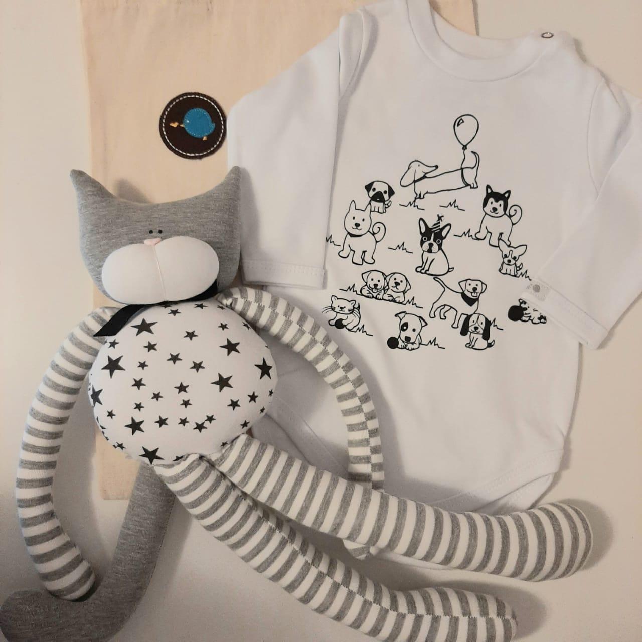 Kit para bebê body P&B  festa pet e gato pernudo fofinho