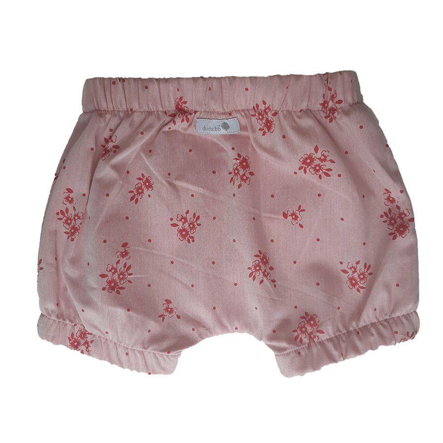 Shorts bebê menina saruel com elástico floral vermelho tecido plano mescla vermelho