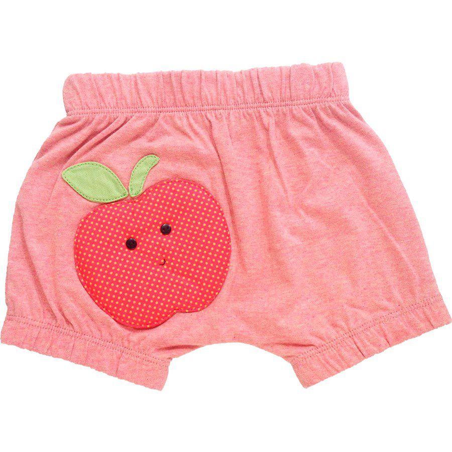 Shorts bebê menina saruel com elástico maçã malha mescla vermelho