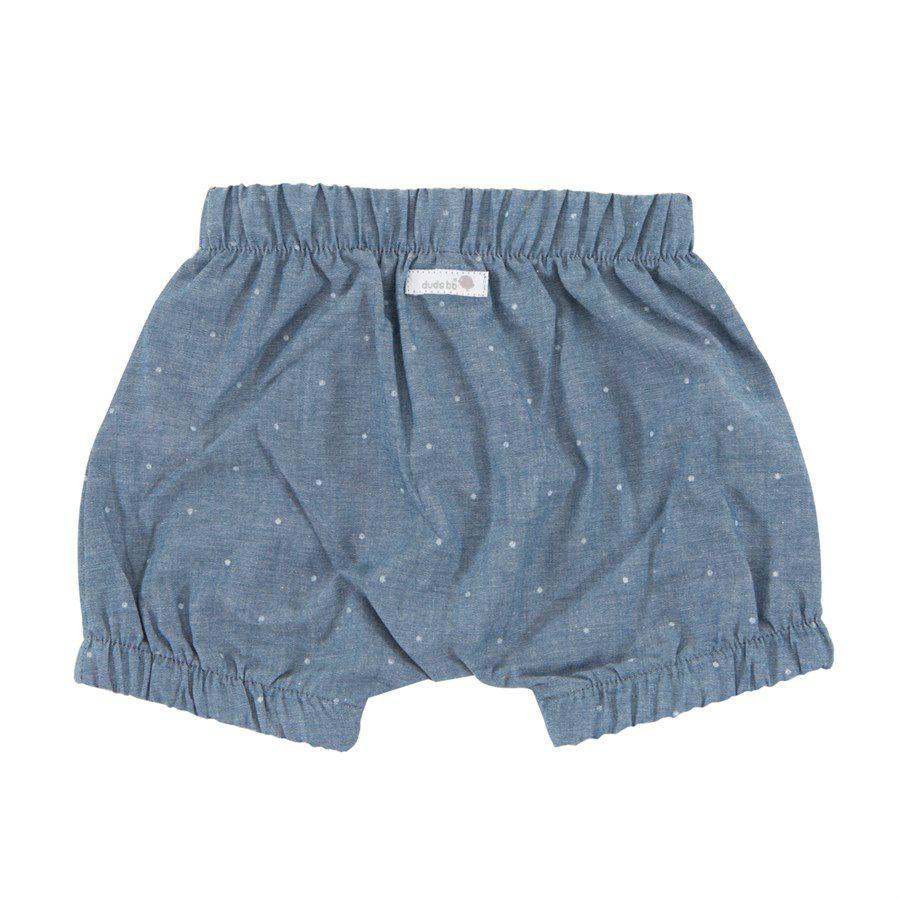Shorts bebê menina saruel com elástico poa branco tecido plano mescla azul
