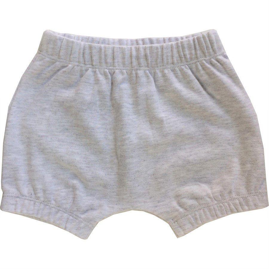 Shorts bebê unissex saruel com elástico mescla claro suedine cinza