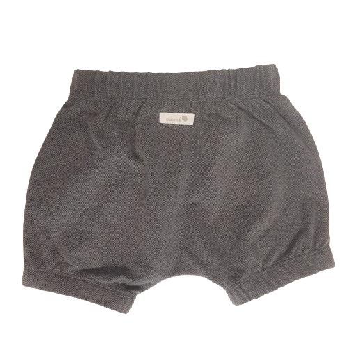 Shorts bebê unissex saruel com elástico piquet cinza grafite