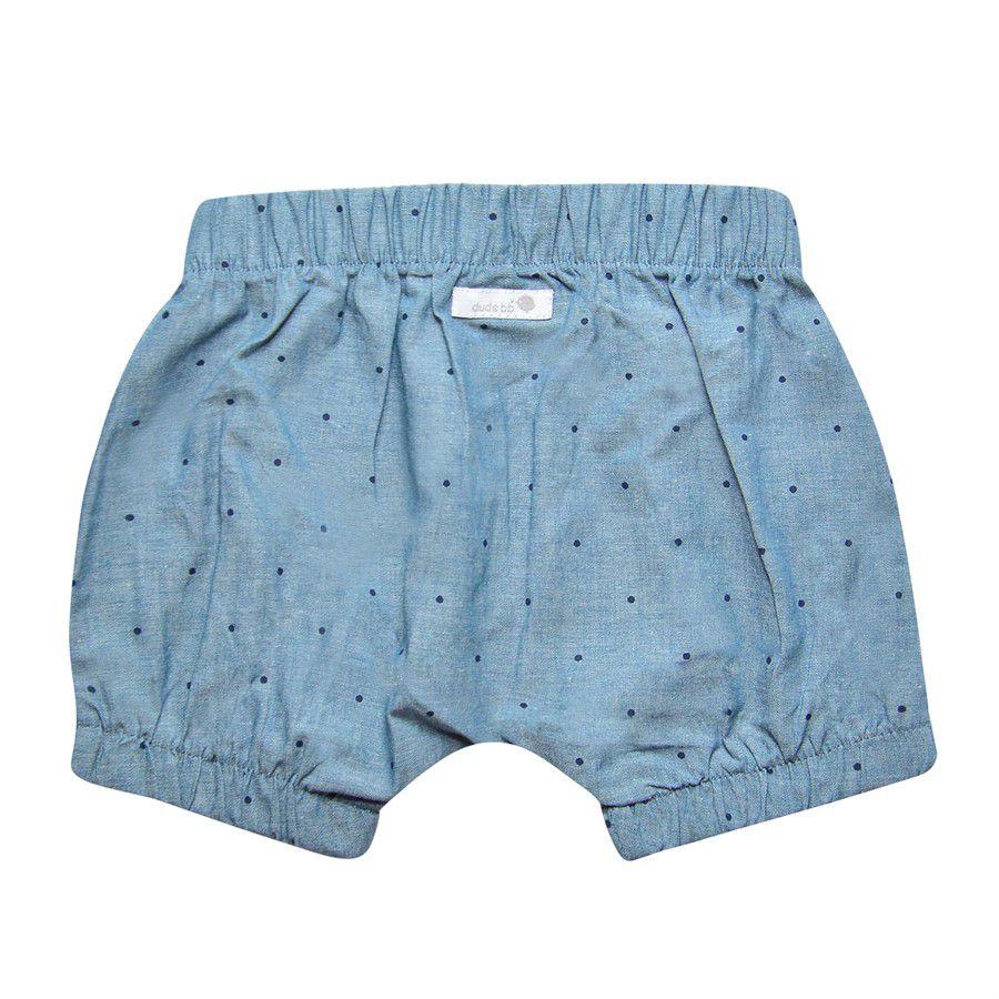 Shorts bebê unissex saruel com elástico poa marinho tecido plano mescla azul