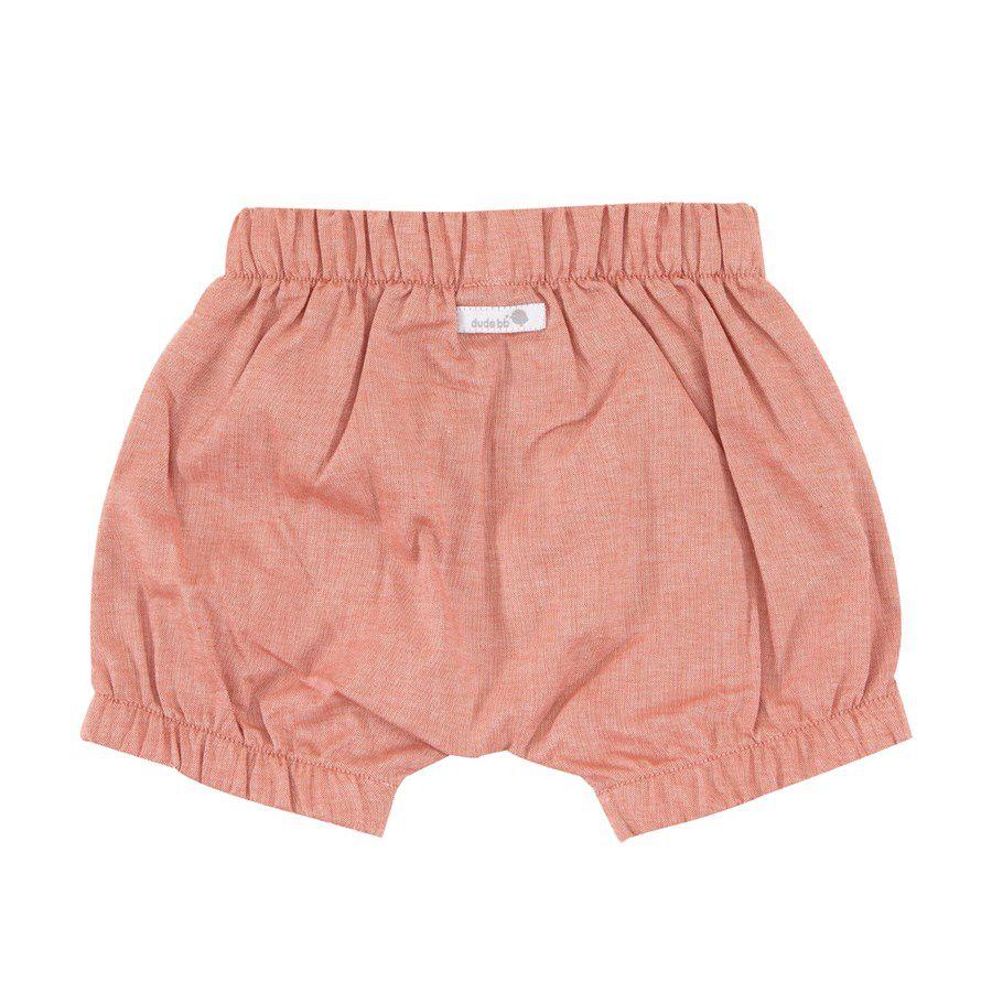 Shorts bebê unissex saruel com elástico tecido plano mescla coral