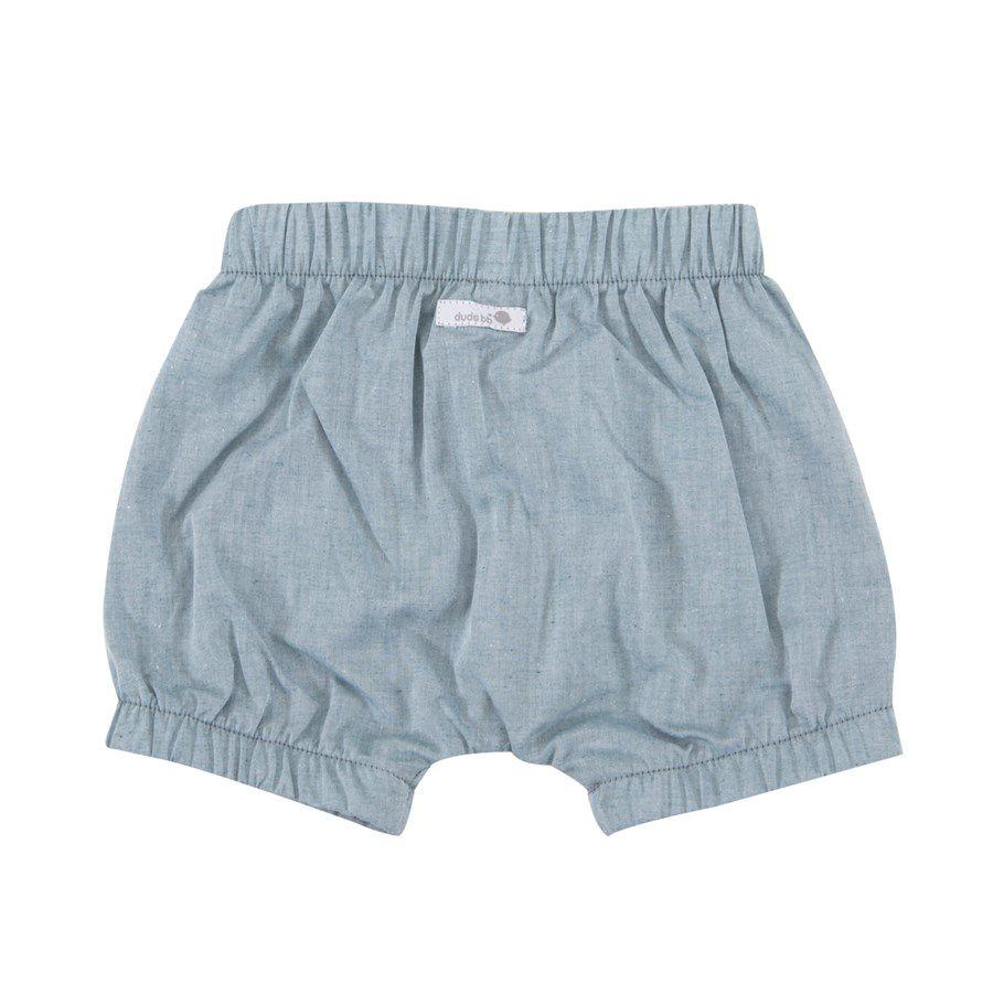Shorts bebê unissex saruel com elástico tecido plano verde mescla