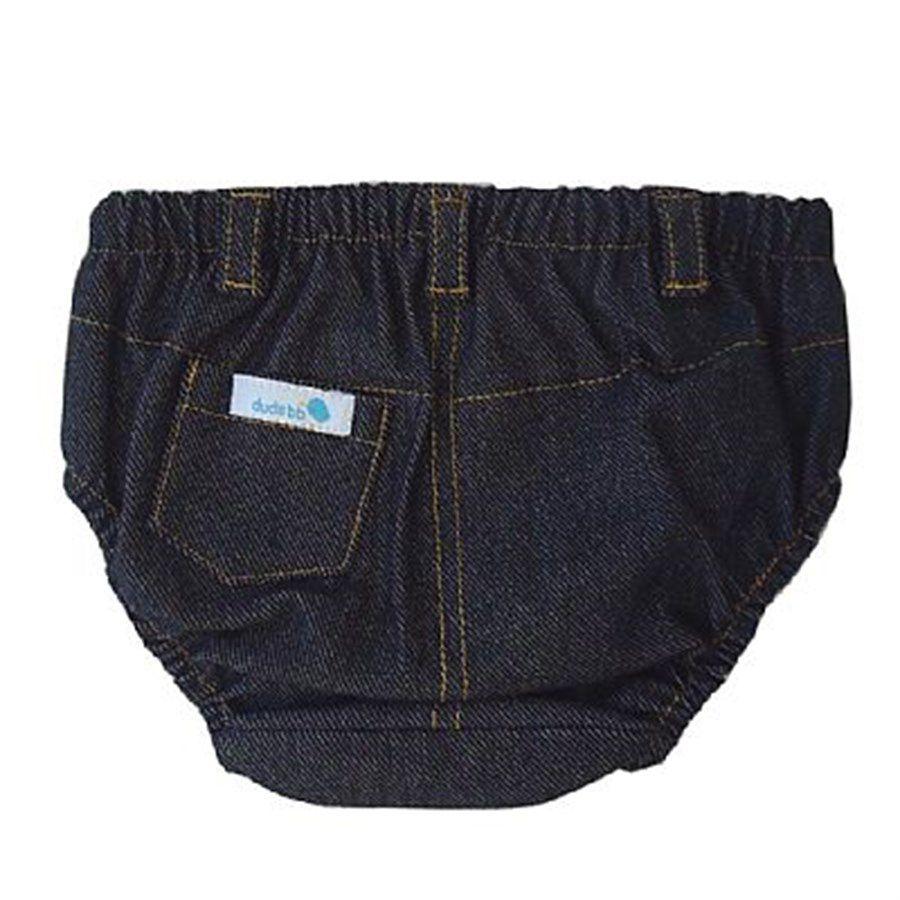 Tapa fralda bebê unissex com bolsinho e passantes malha jeans preta
