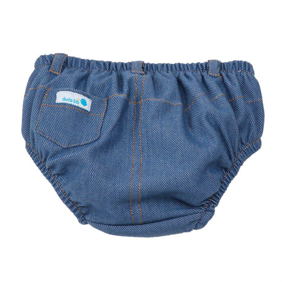 Tapa fralda bebê unissex com bolsinho e passsantes malha jeans azul clarinho