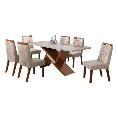 Conjunto Leifer Agata 6 cadeiras Imbuia/OffWhite