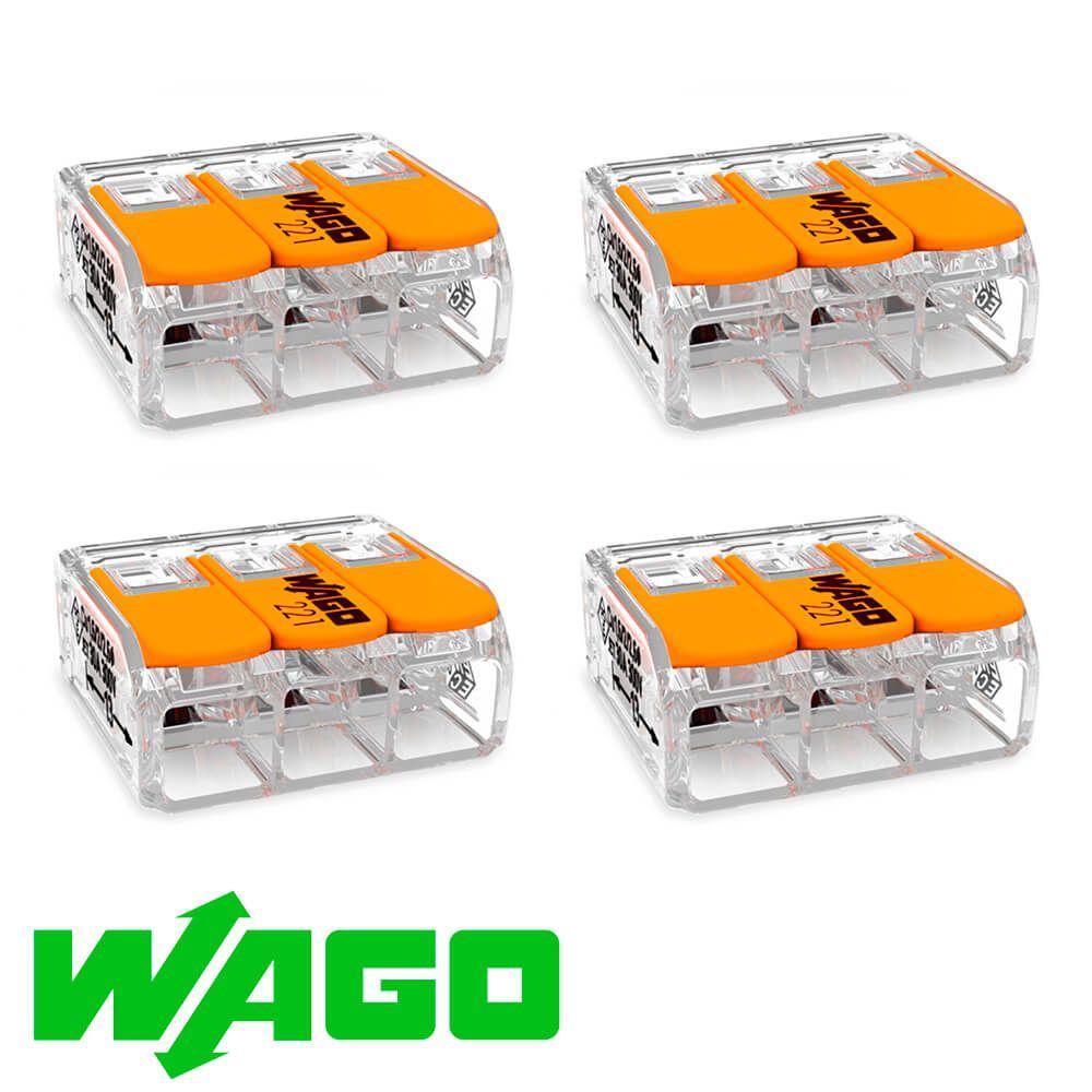 CONECTOR AUTOMÁTICO WAGO 221-413 3X4MM  C/ 4 UNIDADES