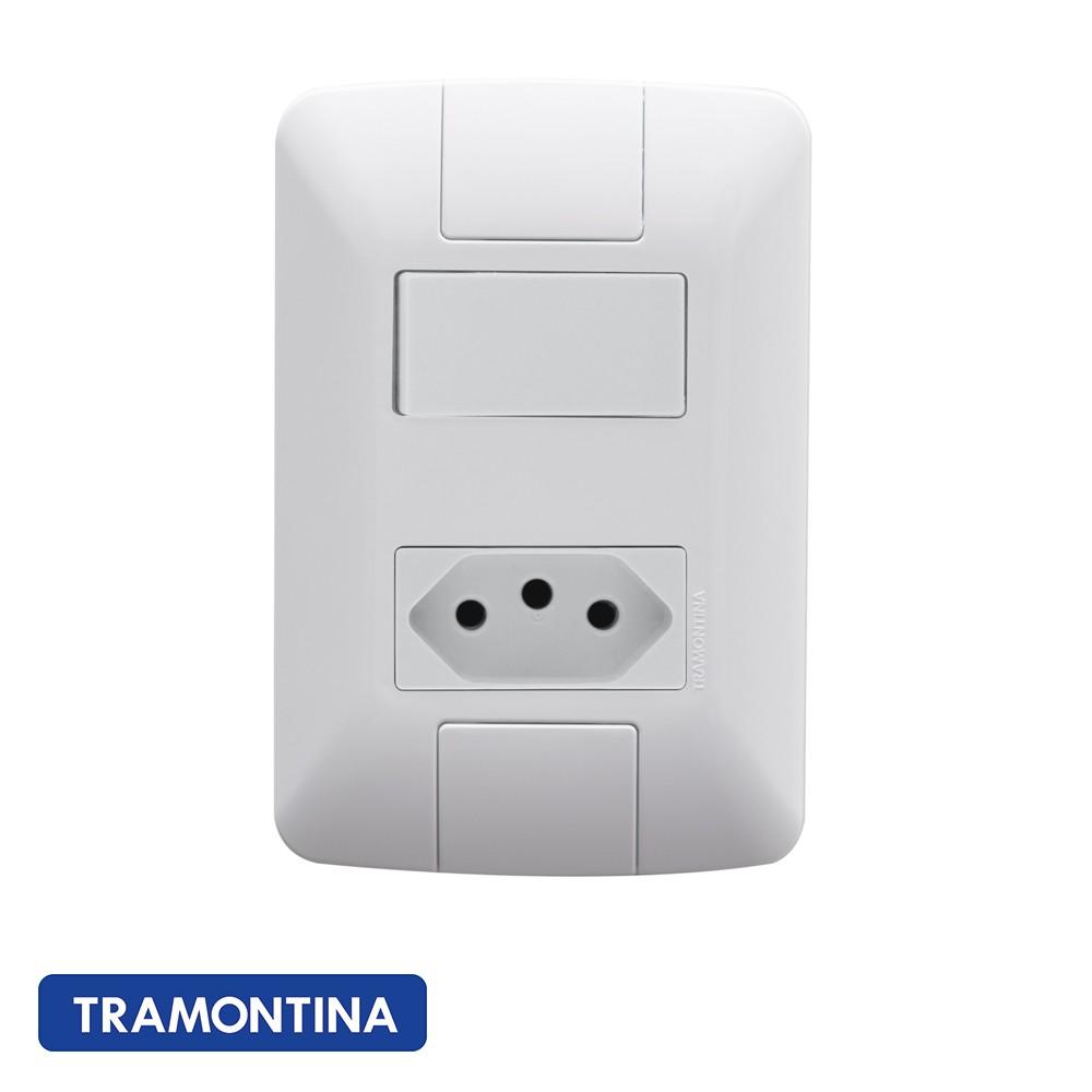 CONJ ARIA 4X2 1 INTERRUPTOR SIMPLES + 1 TOMADA TRAMONTINA - 57241044