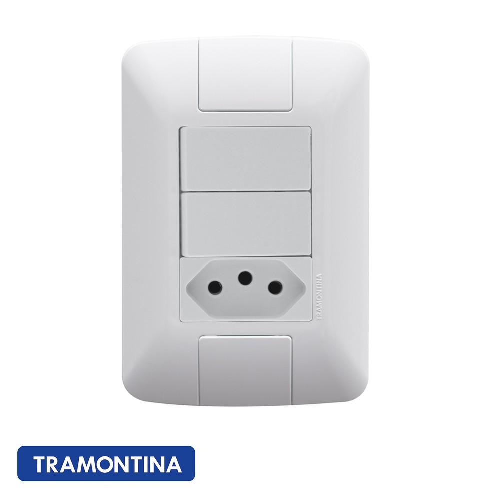 CONJ ARIA 4X2 2 INTERRUPTORES SIMPLES + TOMADA 2P+T TRAMONTINA - 57241073