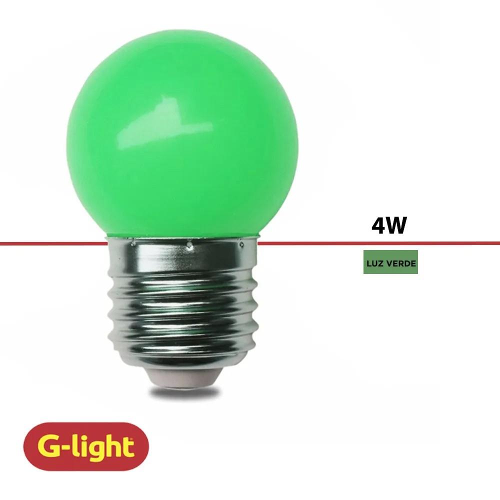 LAMPADA BOLINHA G-LIGHT LED G45 VERDE 220V  - Elétrica Brasil