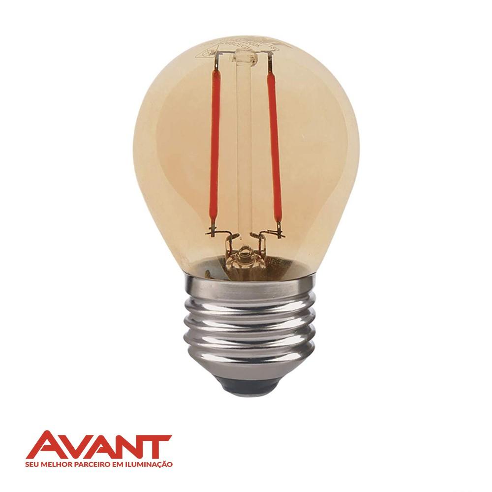 LAMPADA RETRO FILAM LED BOLINHA AVANT G45 2W E27