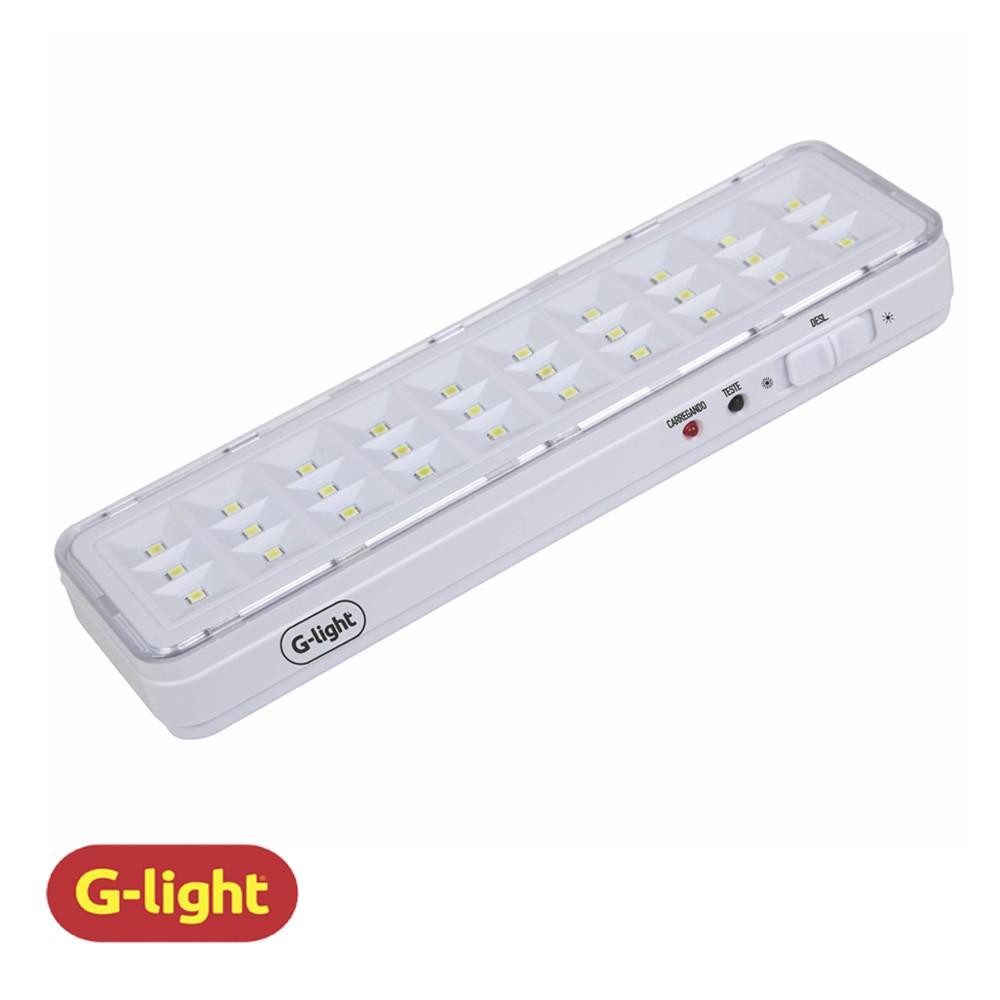 LUMINÁRIA EMERGÊNCIA G-LIGHT 30 LEDS