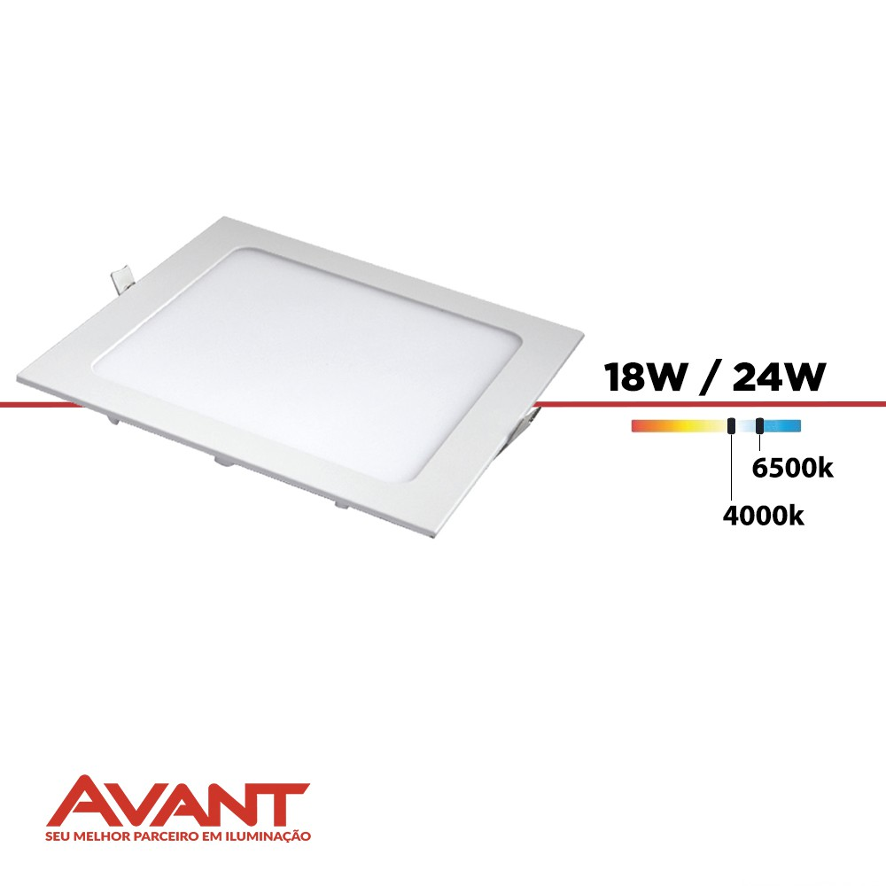 PAINEL LED DOWNLIGHT EMBUTIR QUADRA. AVANT 18W/24W