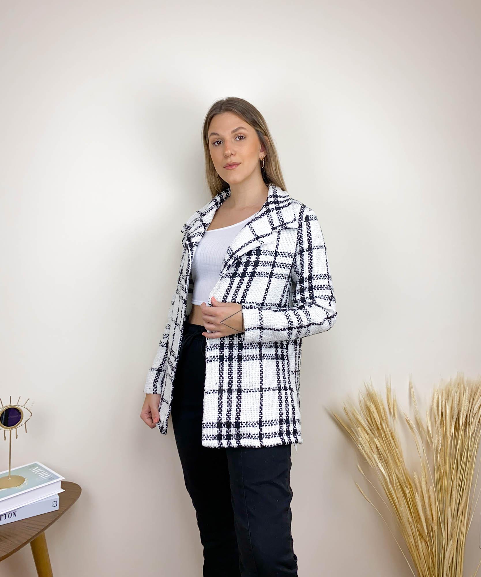 Blazer Alongado Tweed Branco