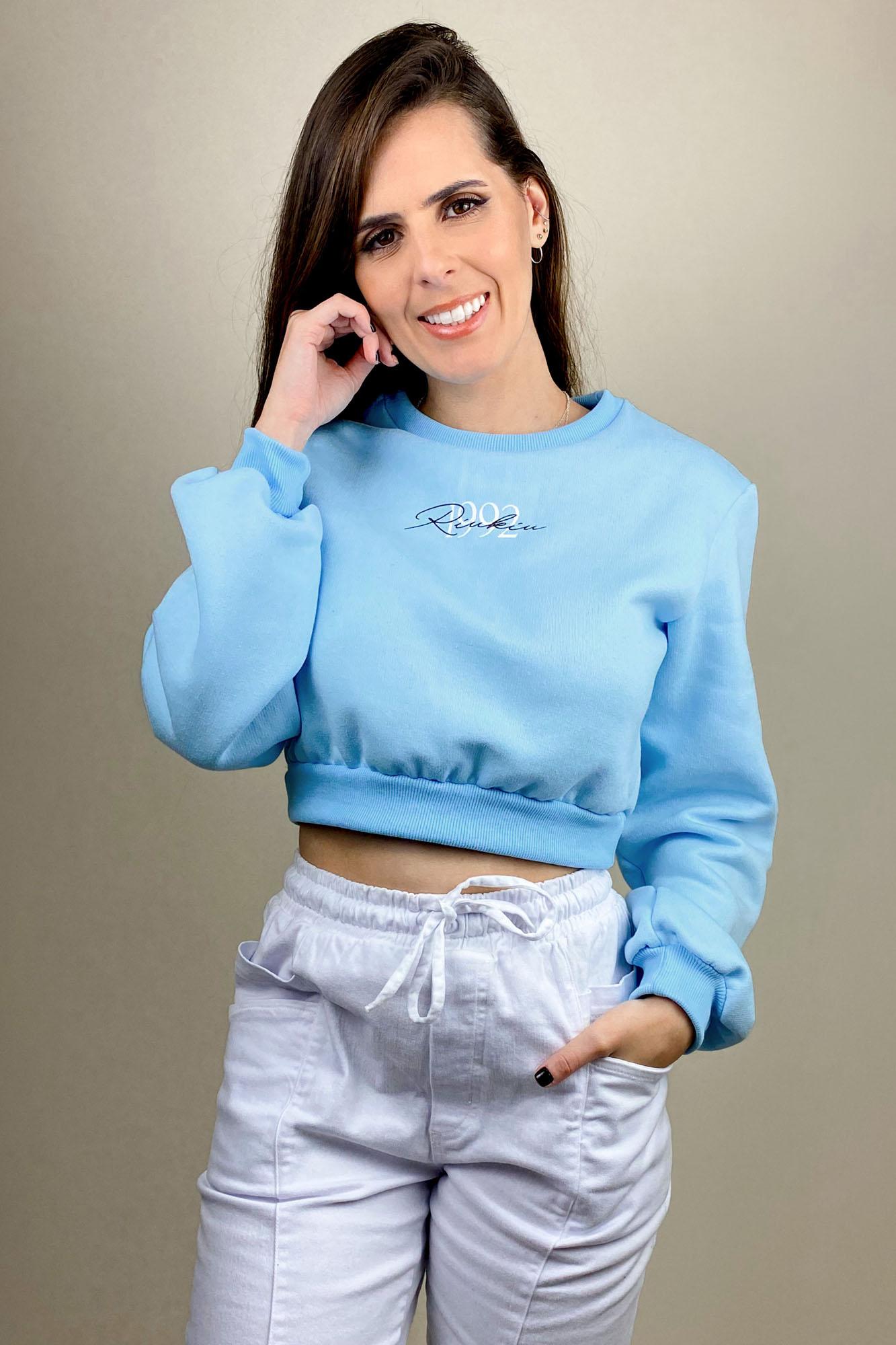 Blusa Moletom Comfy Cropped Azul