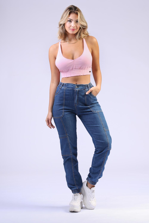 Calça Jeans Jogger Cargo