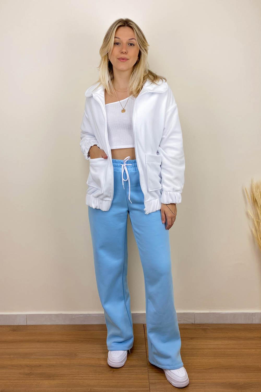 Calça Wide Leg de Moletom Azul
