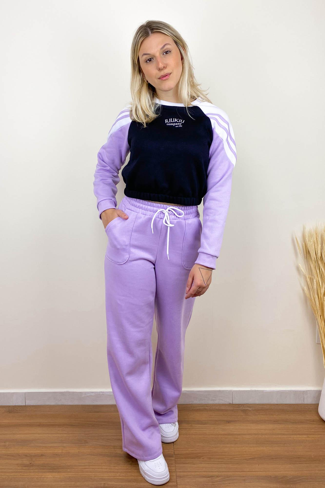 Calça Pantalona de Moletom Lilás