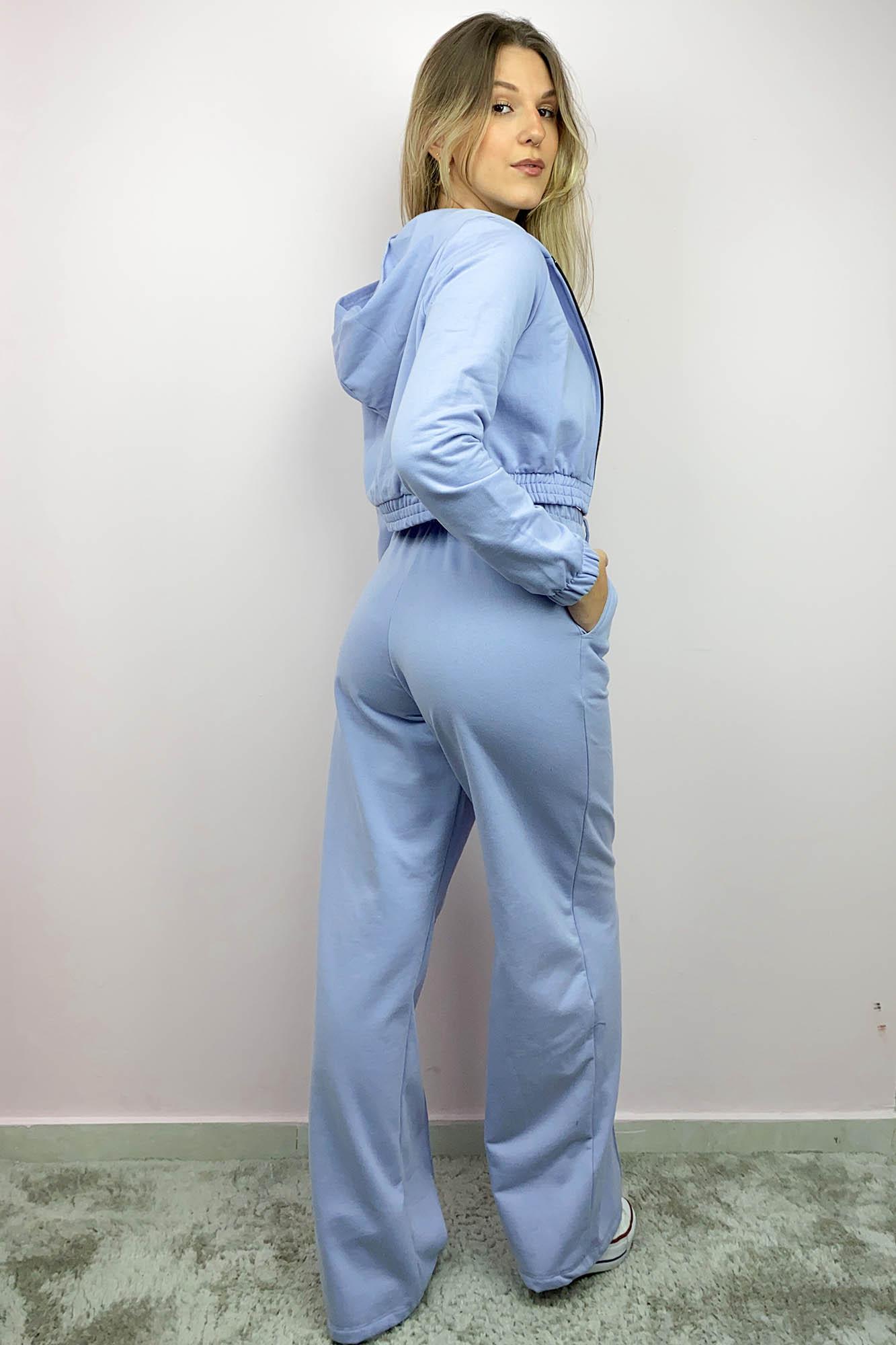 Calça Pantalona Moletinho Verena Azul Aço