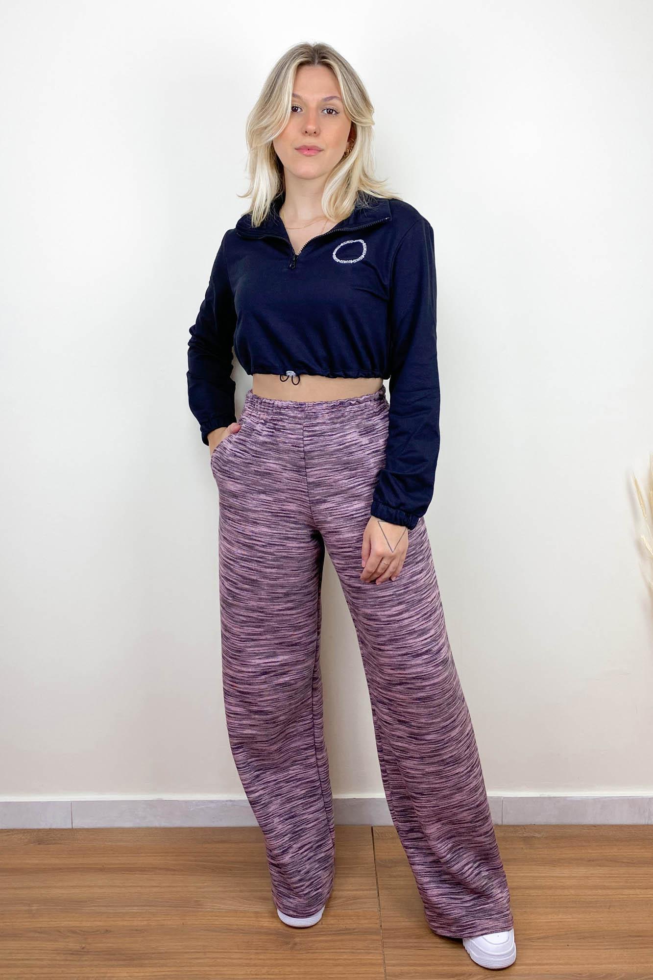 Calça Pantalona Mescla Rose