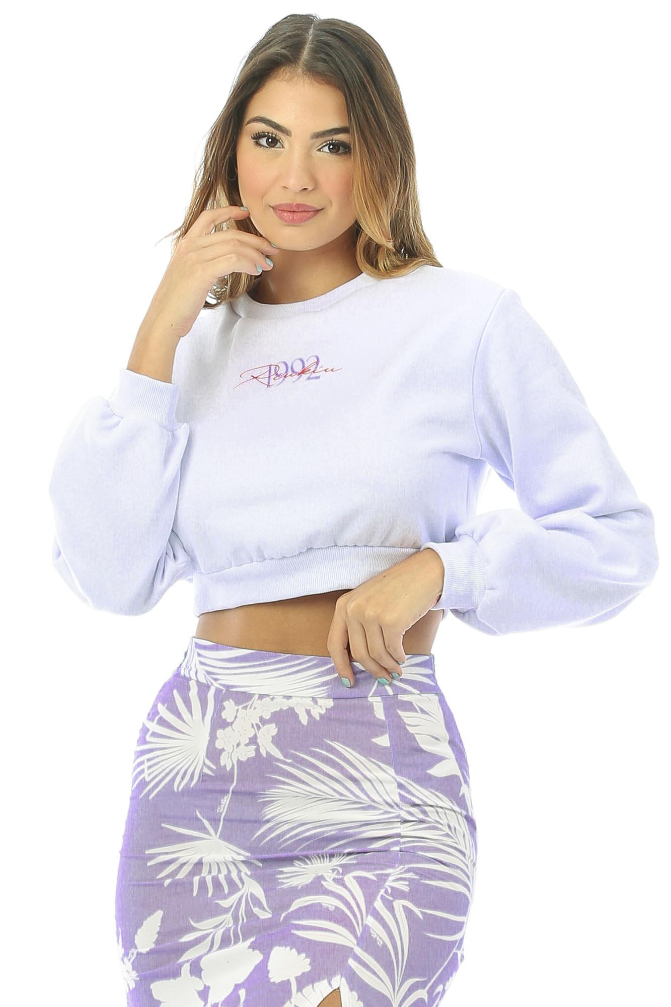 Blusa Moletom Comfy Cropped Branco