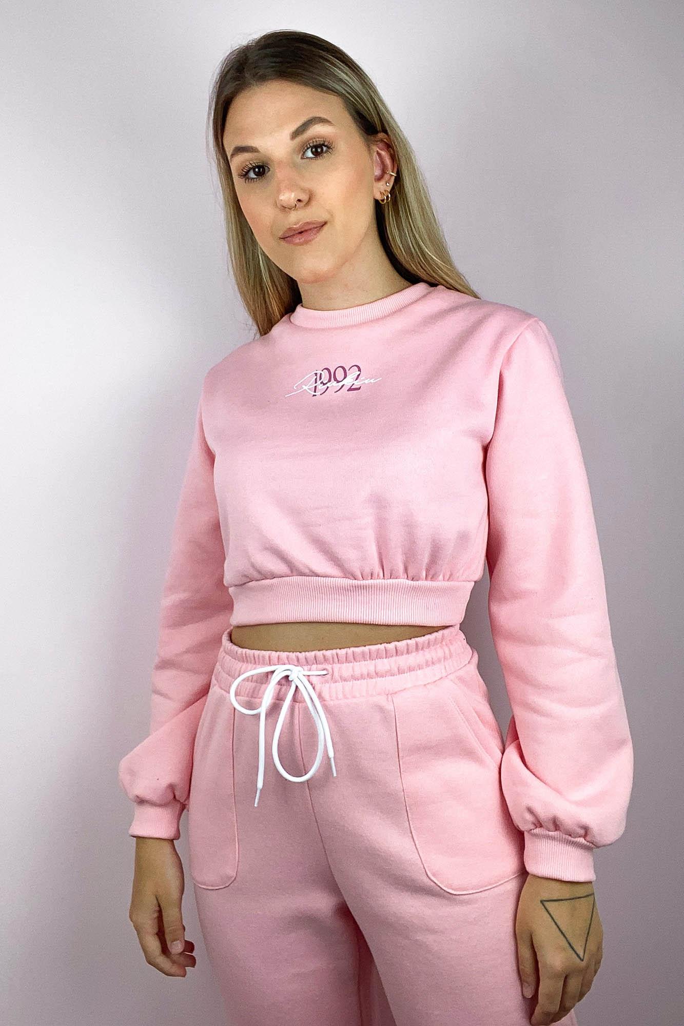 Blusa Moletom Comfy Cropped Rosa