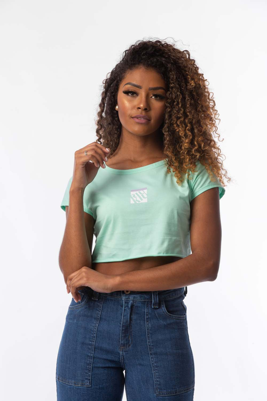 T-shirt cropped Talia Verde Água