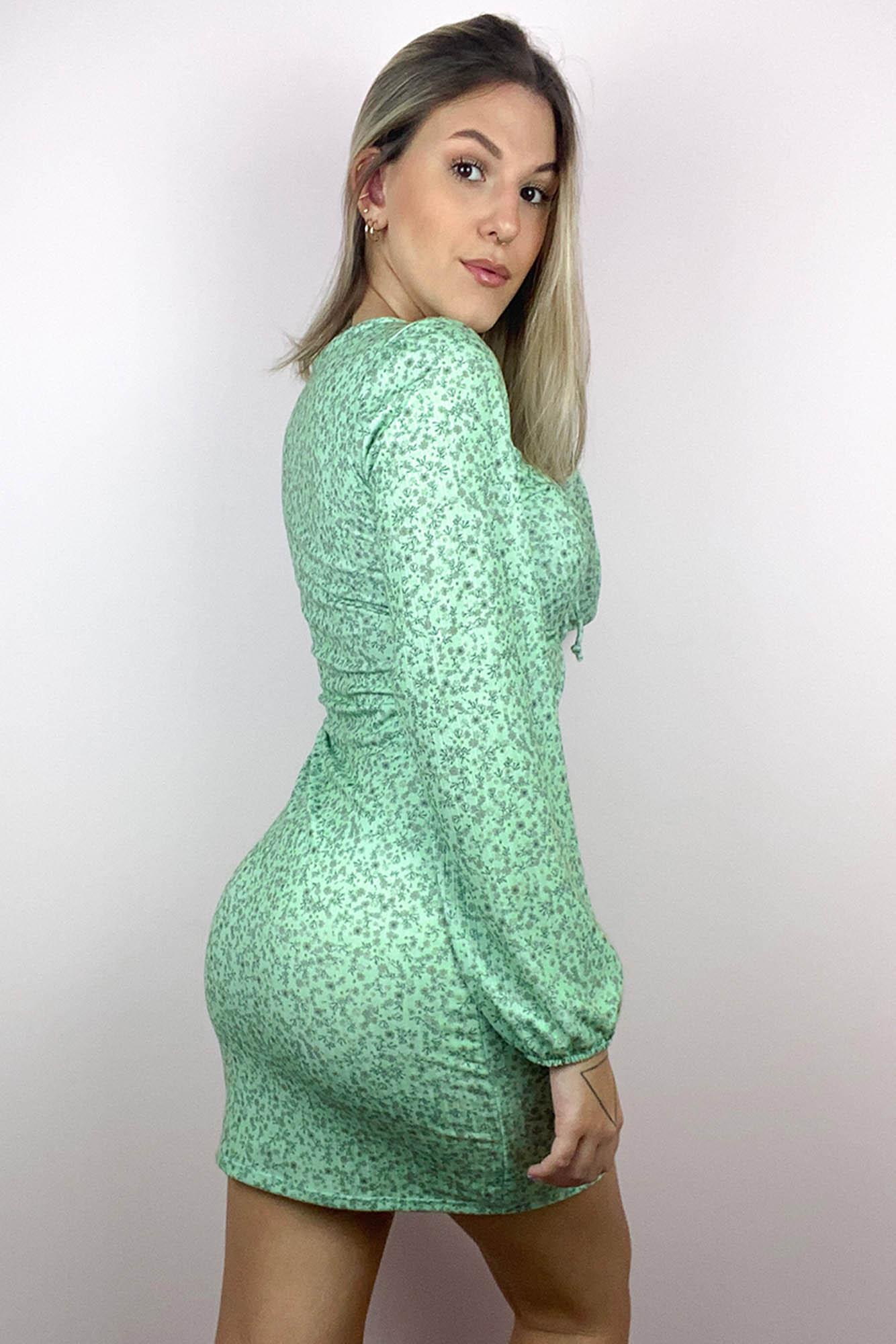 Vestido Curto Manga Longa Dream Verde