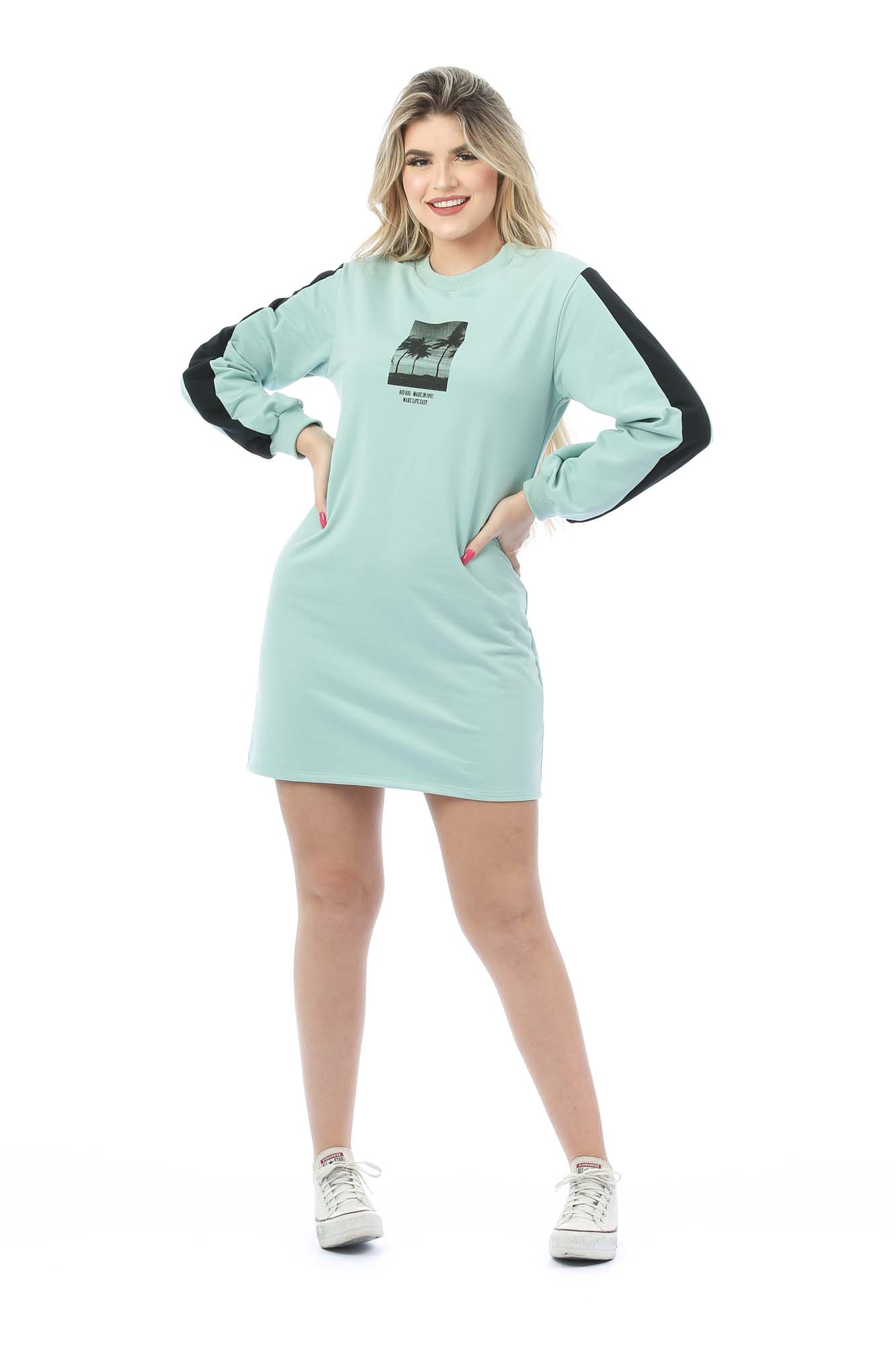 Vestido Manga Longa Moletinho Ariana