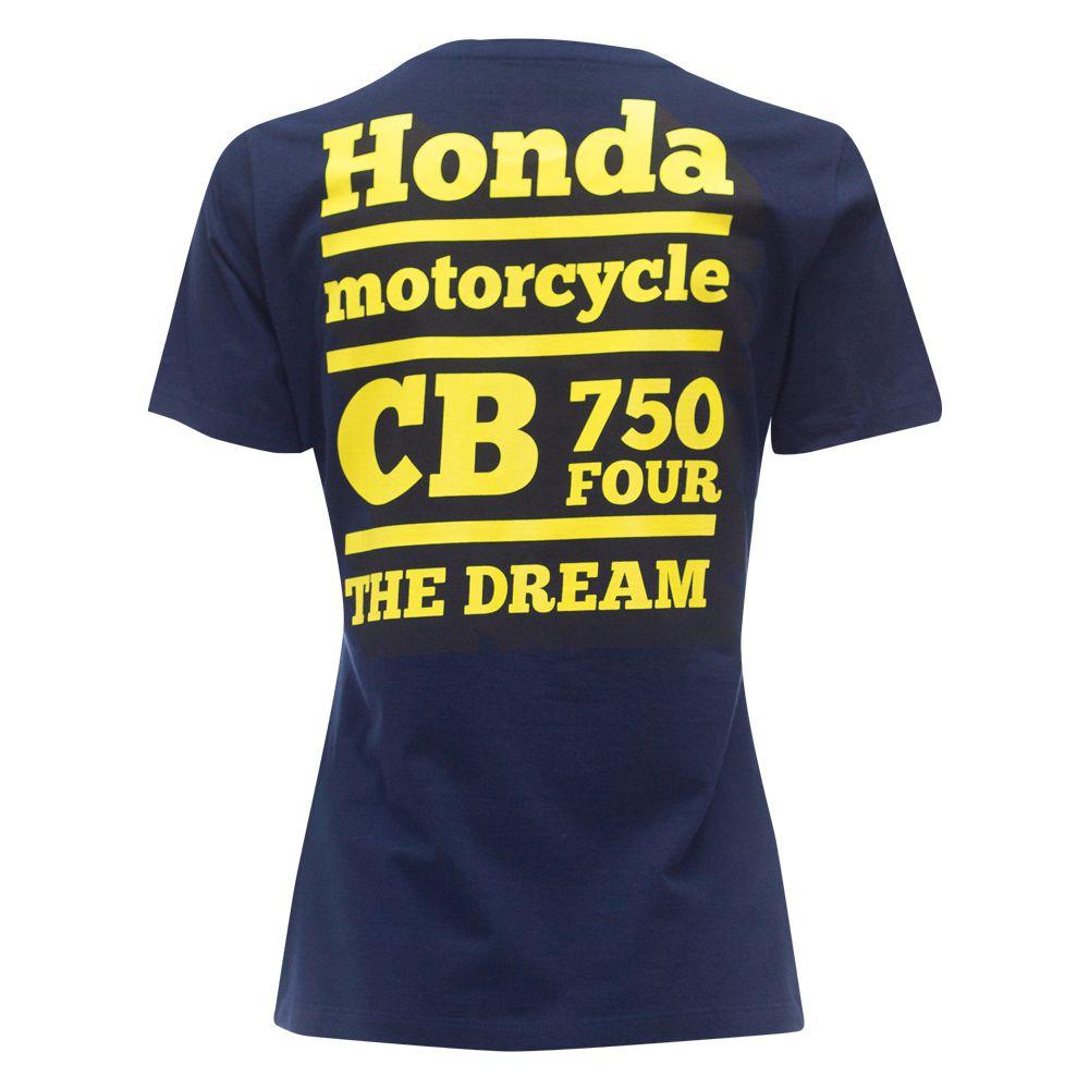 Camiseta Feminina Honda CB750 Four Azul - Coleção Vintage  - Convem Honda