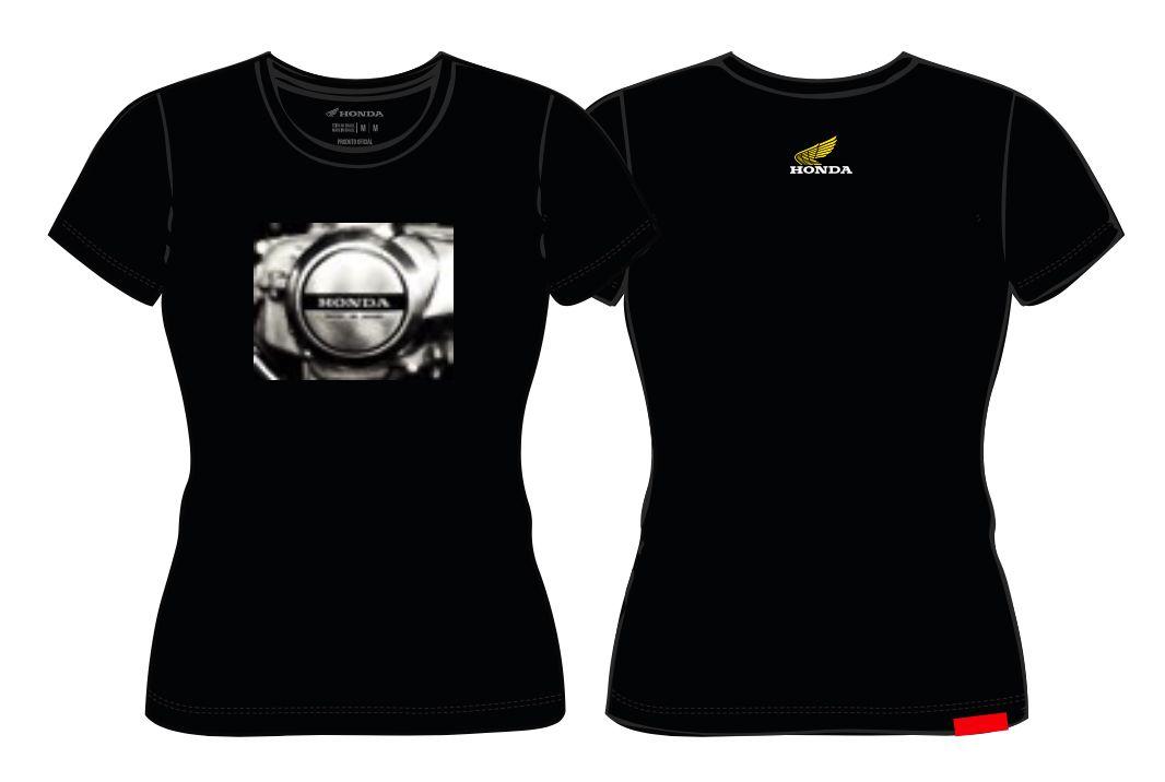 Camiseta Feminina Honda Motor Preta  - Convem Honda